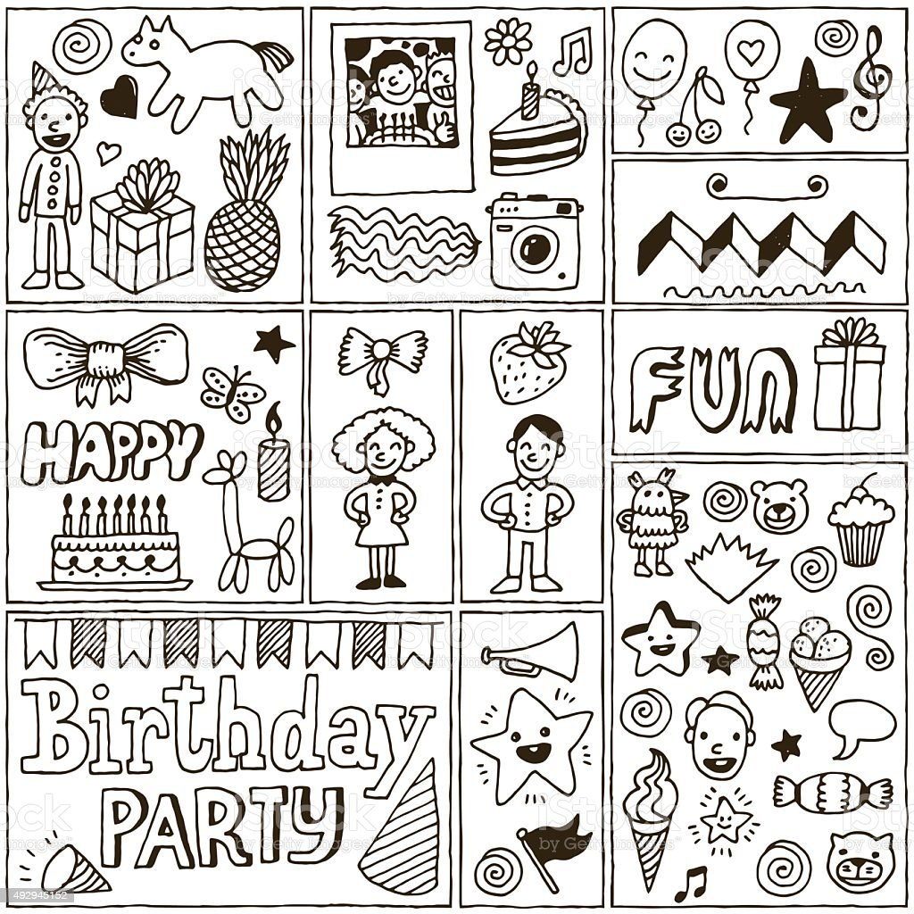 Birthday Themes Banners set 2. Hand Drawn Vector Illustrations. vector art illustration