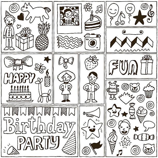 illustrations, cliparts, dessins animés et icônes de ensemble de deux bannières anniversaire de thèmes. main tirées des illustrations vectorielles. - ballon anniversaire smiley