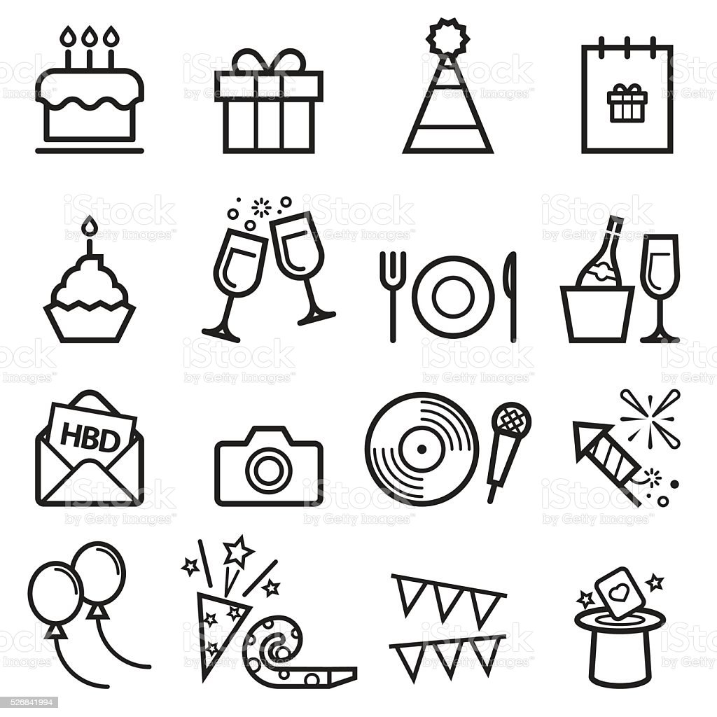 Birthday Thin Line Icons vector art illustration
