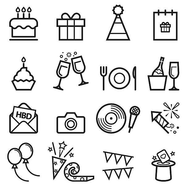 geburtstag dünne linie symbole - geburtstagstorte stock-grafiken, -clipart, -cartoons und -symbole