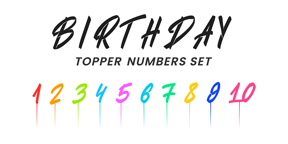 Birthday topper numbers set. Hand drawn brush numbers and Birthday lettering.