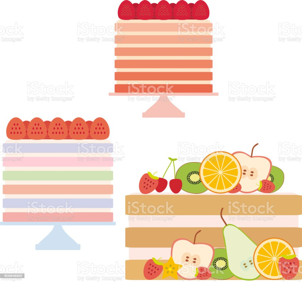 Birthday, valentines day, wedding, engagement. Set sweet cake, strawberry cream, Cake Stand, cake decorated with fresh fruits and berries, pastel colors on white background. Vector vector art illustration