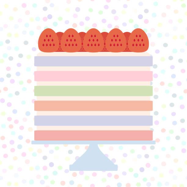 Birthday, valentine's day, wedding, engagement. Sweet cake, strawberry cream, Cake Stand, pastel colors on white polka dot background. Vector Birthday, valentine's day, wedding, engagement. Sweet cake, strawberry cream, Cake Stand, pastel colors on white polka dot background. Vector illustration cakestand stock illustrations