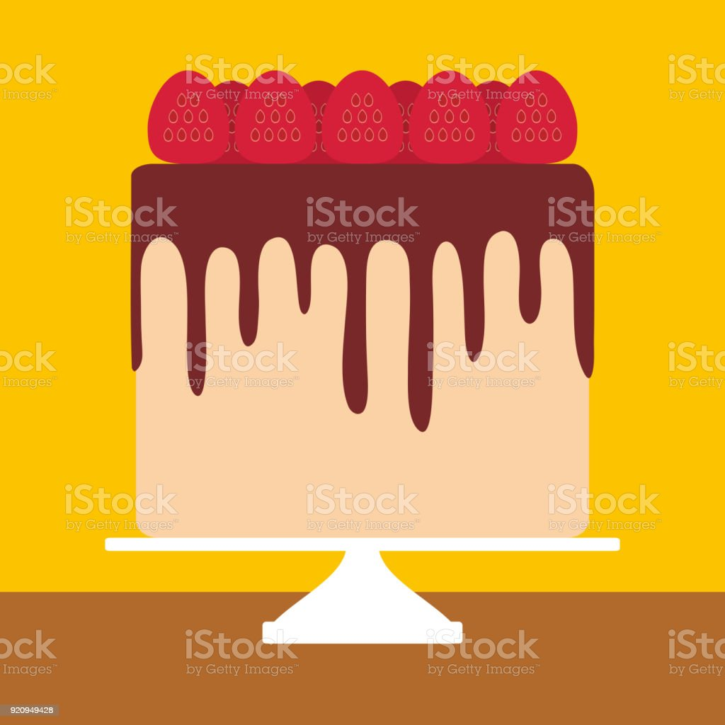 Birthday, valentines day, wedding, engagement. Sweet cake, strawberry cream chocolate icing, Cake Stand, pastel colors on yellow background. Vector vector art illustration