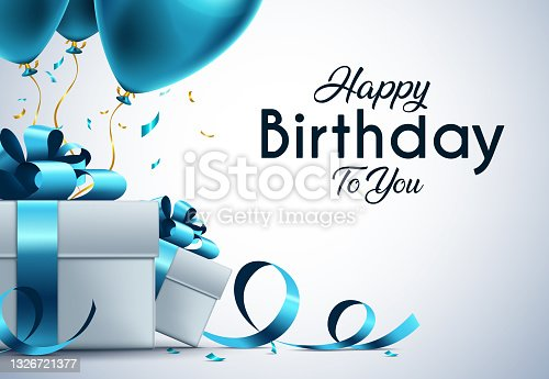 istock Birthday vector banner template. Happy birthday to you text in white space background with gifts and balloon decoration element for birth day celebration greeting design. 1326721377