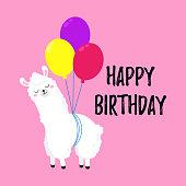 Birthday vector cartoon greeting card design. Doodle illustration. Template, background for print, design