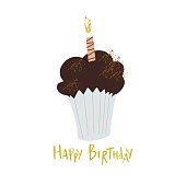 Happy birthday lettering illustration with muffin and candle. Sweet cupcake for one year baby birthday. Design for textile, t-shirt.