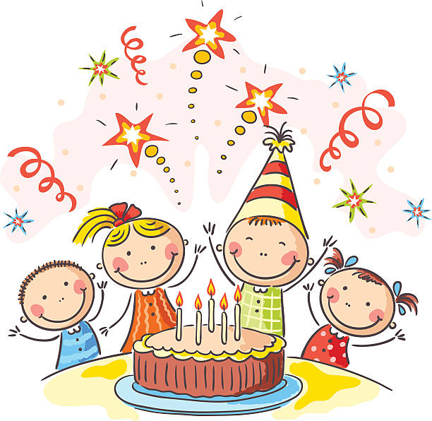 Birthday Birthday party with a big cake and fireworks, no gradients. happy birthday stock illustrations