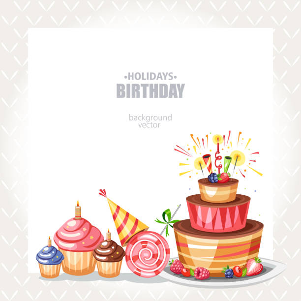Birthday holiday background with cake cupcakes and lollipop cake borders stock illustrations