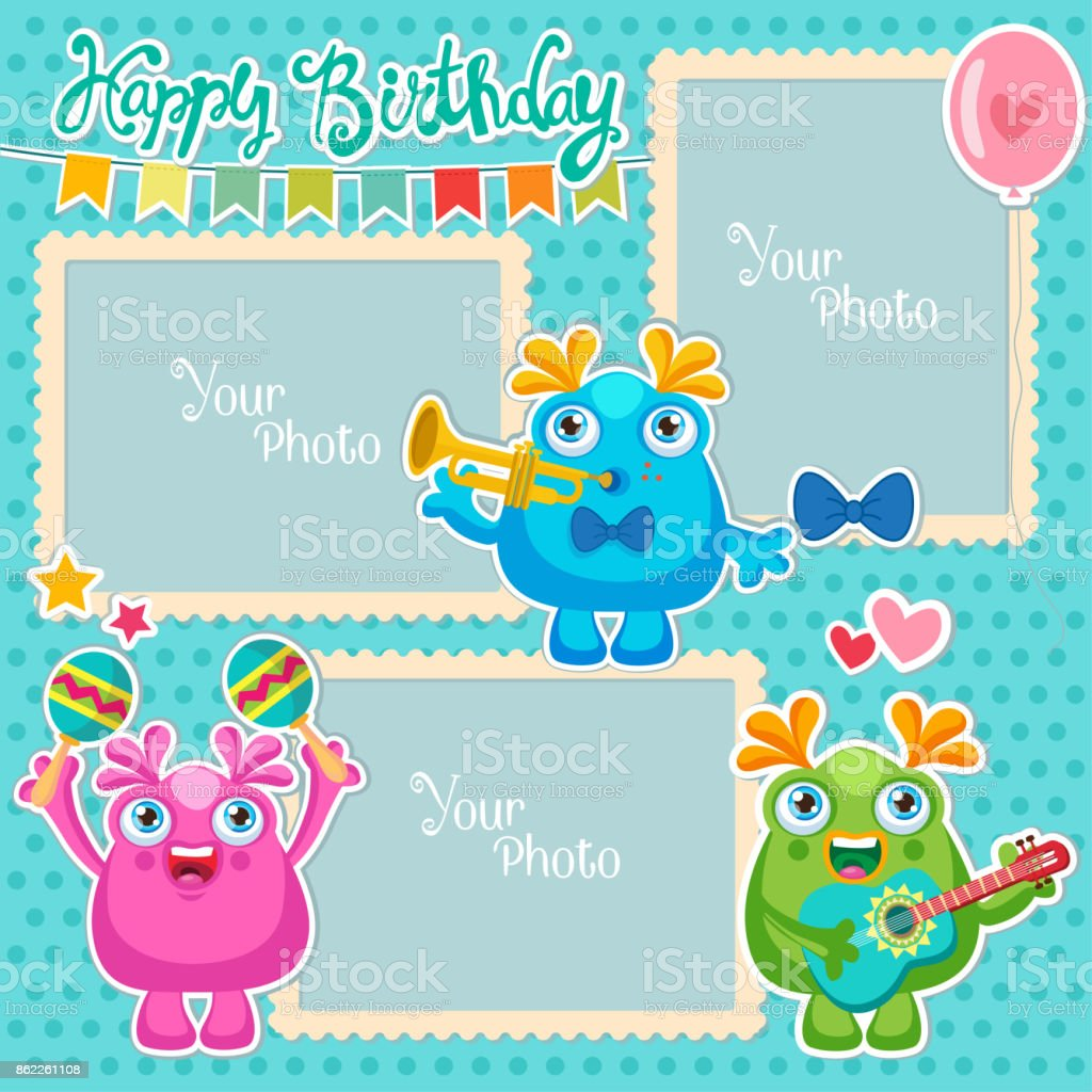 Birthday Vector Photo Frames With Cute Monsters. Decorative Template For  Baby, Family Or Memories
