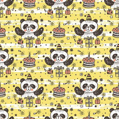Anniversaire Vecteur Seamless Pattern Avec Mignon Bebe Panda Fond Decran Sans Fin Avec Les Pandas Gateau