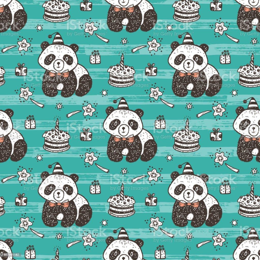Anniversaire Vecteur Seamless Pattern Avec Mignon Bébé Panda Fond