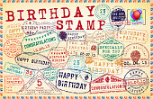 Birthday Vector Stamp Set. Happy birthday stamps