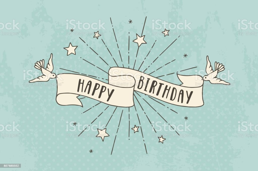 Birthday vintage banner royalty-free birthday vintage banner stock vector art & more images of antique