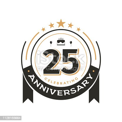 istock Birthday vintage icon template to 25 th anniversary circle retro isolated vector emblem. Twenty five years old badge on white background 1128155664