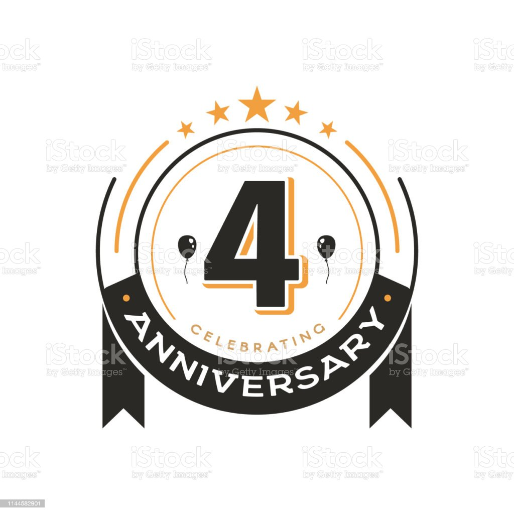 Birthday Vintage Label Template 4 Th Anniversary Circle