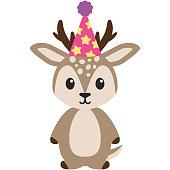 Birthday Woodland Deer Illustration