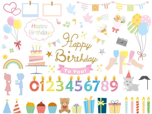 Birthday8 Birthday Design cake borders stock illustrations