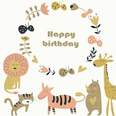 Birthday invitation with cute lion, tiger, zebra, rhino, giraffe, butterflies  and flowers in cartoon style