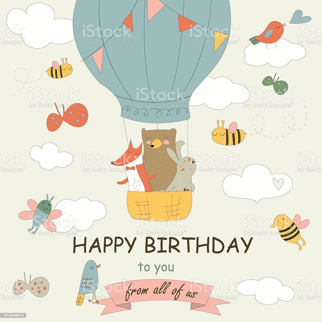 birthdayballonforestanimals向量藝術插圖
