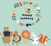 Birthday card with cute animals  playing the musical instruments. Cartoon style.