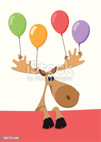 istock Birthday/party moose with balloons tied to its horns 165731446