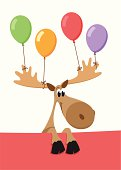 Birthday/party moose with balloons tied to its horns