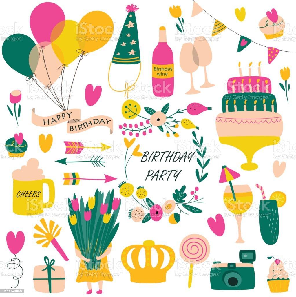 birthdaysetpinkyellow vector art illustration