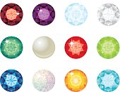 Birthstone gems for each month of the year