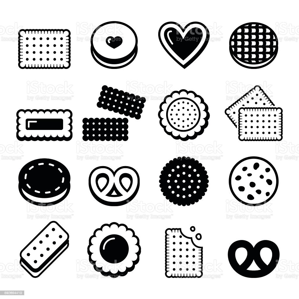 Biscuit, cookie - food vector icons set vector art illustration