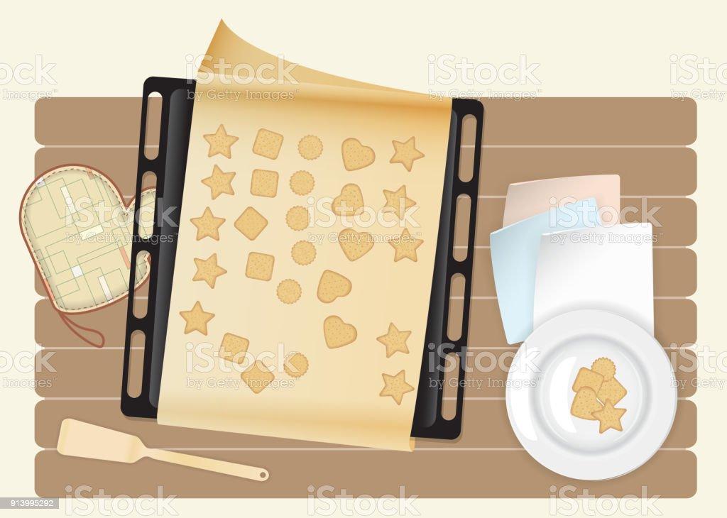 Biscuit Sur Le Dessus De Plan De Travail En Bois De Cuisine