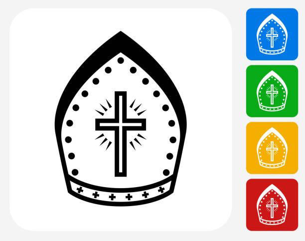stockillustraties, clipart, cartoons en iconen met bishop hat icon flat graphic design - mijter