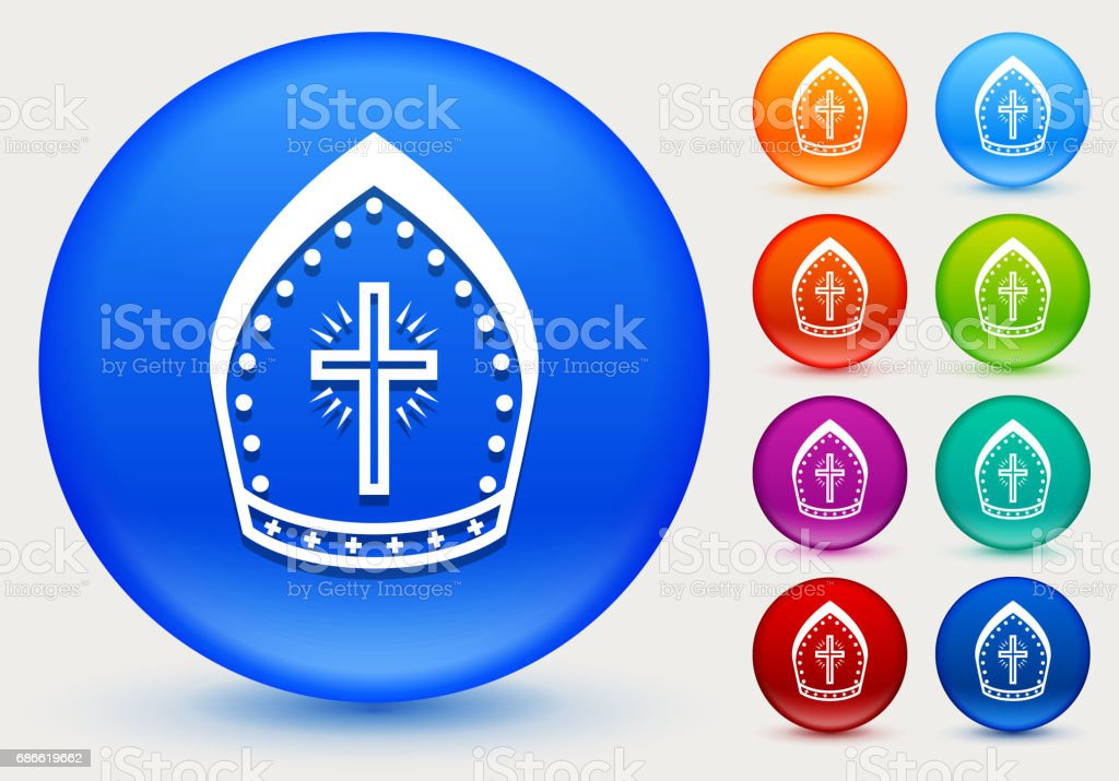 Bishop Hat Icon on Shiny Color Circle Buttons royalty-free bishop hat icon on shiny color circle buttons stock vector art & more images of bishop's cap