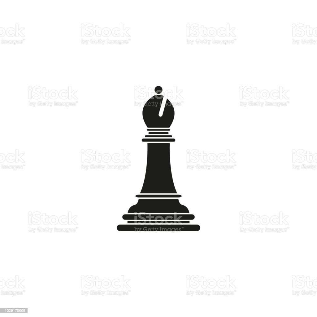 Bishop of chess icon black toy success vector art illustration