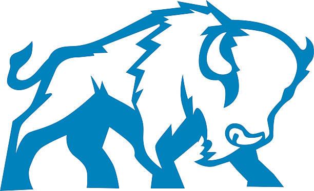 Bison Blue Bison Blue animal design american bison stock illustrations