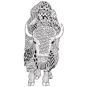 Bison hand drawn. Doodle art . Object isolated on white.