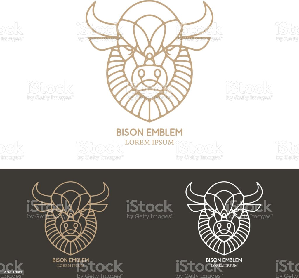 Bison head in line style. vector art illustration