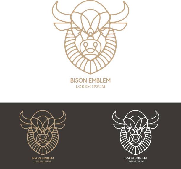 Bison head in line style. vector art illustration