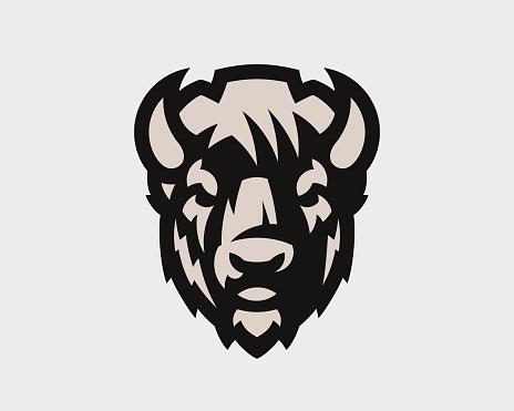 Bison head logo. Bull emblem design editable for your business. Vector illustration.