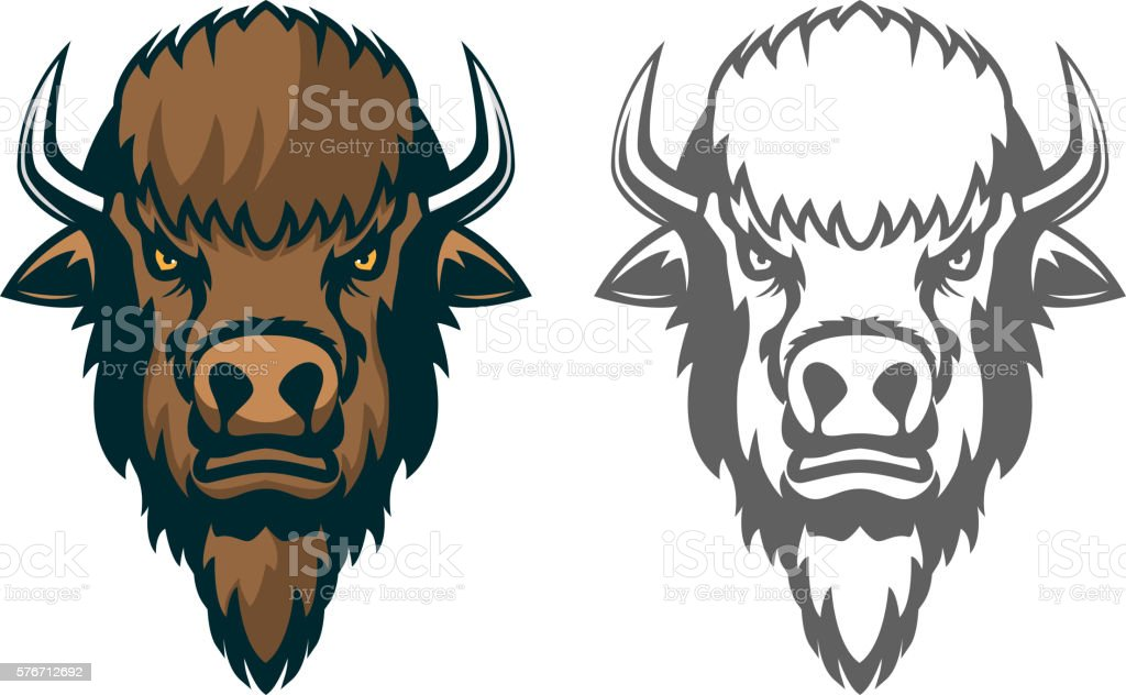 Bison head. mascot. Emblem of the sport team or club vector art illustration
