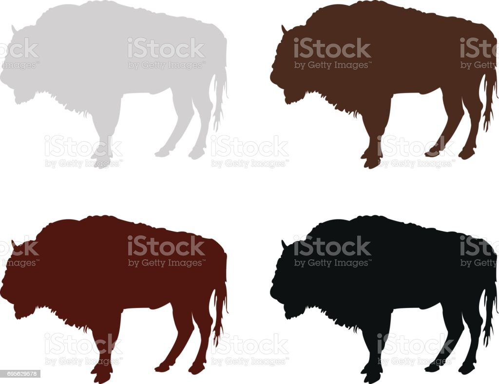 Bison silhouette vector art illustration