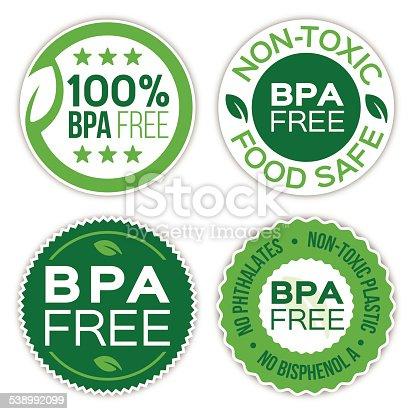 istock BPA Bisphenol A Free Badges 538992099