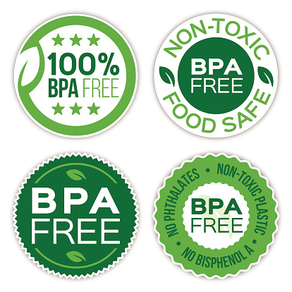 Bisphenol A (BPA) free non-toxic plastic, no phthalates products badges set. EPS 10 file. Transparency effects used on highlight elements.