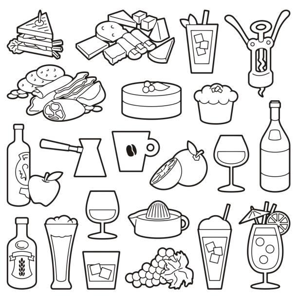 illustrazioni stock, clip art, cartoni animati e icone di tendenza di bistro icons line art - fruit juice bottle isolated