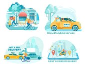Bistro Order Free Delivery Flat Illustrations Set. Products for People in Need Delivering Isolated Design Element. Urban Restaurant Courier Cartoon Pack. Takeaway Snack Delivery Collection