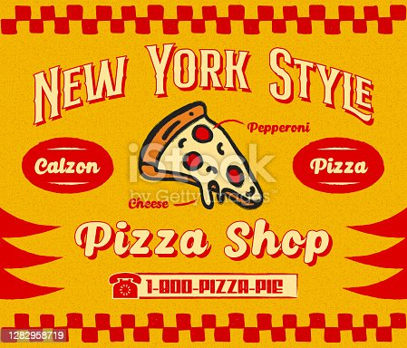 istock Bistro Style Pizzeria Promo Banner or Flyer Template with Slice of Pizza Icon on Retro Delivery Poster 1282958719