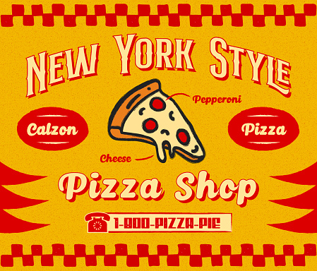 Bistro Style Pizzeria Promo Banner or Flyer Template with Slice of Pizza Icon on Retro Delivery Poster