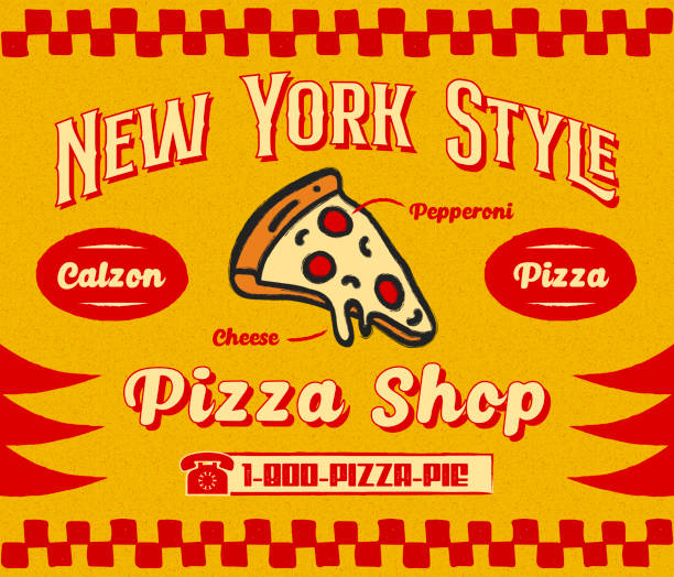 Bistro Style Pizzeria Promo Banner or Flyer Template with Slice of Pizza Icon on Retro Delivery Poster vector art illustration