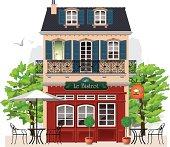 vector illustration of bistrot in Paris.