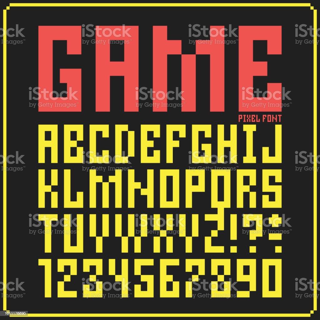 8 Bit Game Font Letters Pixel Alphabet Set 3 Stock